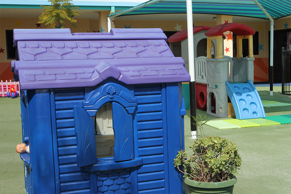 blue outdoor playhouse