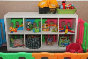 toy shelf with toy barricade